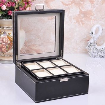 vintage fashion 6-slot wood structure leather watch display box jewelry box case with glass lid black 263A