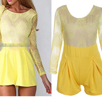 Round Neck Yellow Lace Romper
