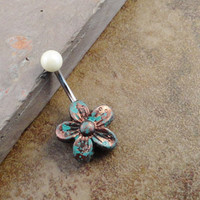 Turquoise and Copper Daisy Flower Belly Button Jewelry