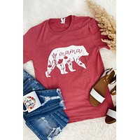 Floral Mama Bear Tee-Berry(S-3X)