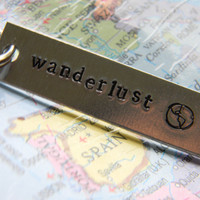 wanderlust crave for travel the world  hand stamped seize the day key ring