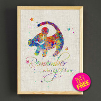Lion King Watercolor Art Print Disney Simba Quote Poster House Wear Wall Art Decor Gift Linen Print - Buy 2 Get FREE - 256s2g