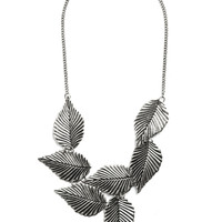 ModCloth Statement Leafing Town Necklace in Silver