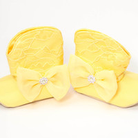Sunny Yellow Satin & Lace Cowgirl Boots for Baby