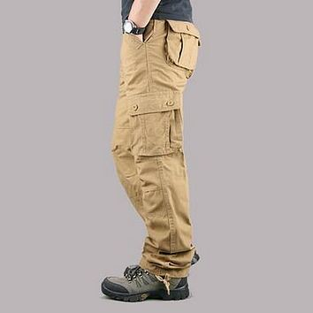 VXO  Men's Cargo Pants Casual Mens Pant Multi Pocket Military Overall Men Outdoors High Quality Long Trousers