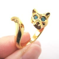 Kitty Cat Shaped Animal Wrap Ring in Shiny Gold with Turquoise Eyes   US Sizes 6 to 9
