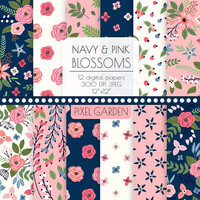 Navy & Pink Floral Digital Paper Background. Shabby Cottage Chic Patterns. Rose, Peony Background. Pink, Navy, Ivory Hand Drawn Flowers.