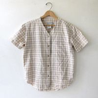 vintage silk shirt. brushed silk button up top. natural minimalist shirt with pocket.