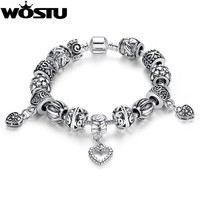 WOSTU Hot Selling Silver DIY Beads Bracelet for Women Fashion Jewelry Original Charm Bracelets Pulseira Gift XCH1431