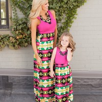 Mommy and Me Matching Patchwork Maxi Dresses