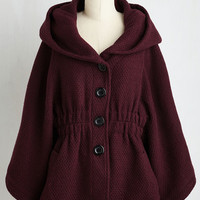 70s Mid-length Sleeveless Hood if I Could Cape in Merlot