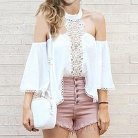 Fashion  Halter Long Sleeve Strapless Hollow Lace Chiffon Shirt Tops