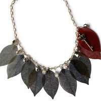 Silver and red necklace, filigree leaves, silver chain with key pendant, chinese crystal bead jewelry