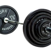 York Barbell 300 lb Olympic Weight Set With Bar & Collars