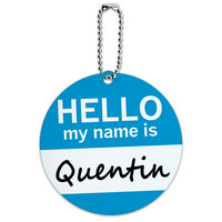 Quentin Hello My Name Is Round ID Card Luggage Tag