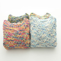 Multi Yarn Pullovers Knitted Sweater