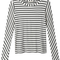LE3NO Womens Casual Crew Neck Long Sleeve Striped Shirt (CLEARANCE)