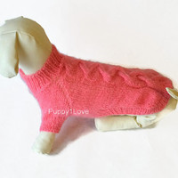 dachshund warm pink Sweater Clothes Hand Knitting medium dog fluffy cable Mohair