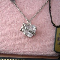 Auth Juicy Couture Heart Banner Necklace Clear Stone $48
