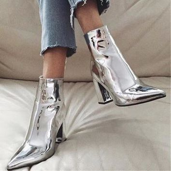 Fashionable patent leather fabric pointy thick heel high heel zipper style knight boots