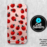 Ladybug Clear iPhone 6s Case iPhone 6 Case iPhone 6 Plus Case iPhone 6s Plus iPhone 5c Case iPhone 5 Clear Case Red Lady Bug Pattern Cute