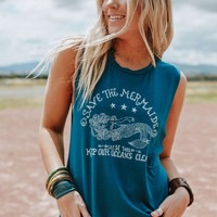 Save The Mermaids Graphic Tank Top
