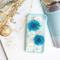 Christmas Edition - The sky blue pressed flower bumper phone case (押し花電話ケース)
