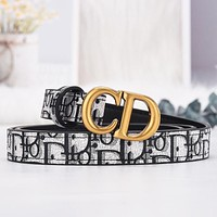 DIOR fashion CD buckle men's and women's belt women's simple fashion all-match trousers belt Black Print