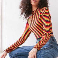 Silence + Noise Striped Cropped Turtleneck Sweater - Urban Outfitters
