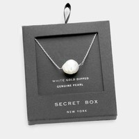 Secret Box _ White Gold Dipped Genuine Pearl Pendant Necklace