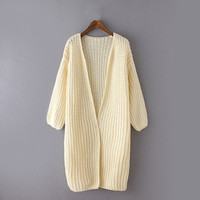 Beige Cable Knit Plain Cardigan