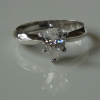 Pear Cut Cubic Zirconia 925 Sterling Silver Ring