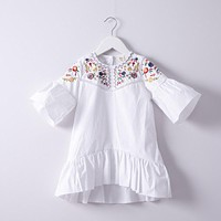 Summer Baby Girls Colorful Flower Embroidery crew neck Dress Children lantern Sleeve Dress Kids causal Dresses