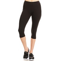 Women Regular Solid Buttery Soft Yoga Fitness Cropped Capri Leggings