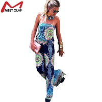 Plus Size Jumpsuit Casual Overalls For Women Rompers Woman Jumpsuits Bodysuit Sexy Sleeveless Long Pants Blue Romper Pants YL264