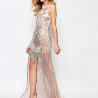 A Star Is Born | A Star Is Born Allover Luxe Embellished Overlay Maxi Dress With Beaded Hem at ASOS