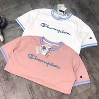 Champion Summer Fashion Couple Casual Embroidery Short Sleeve T-Shirt Top