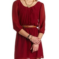 BELTED CHIFFON SHIFT DRESS