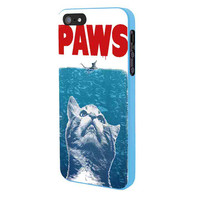 Paws Cat And Mouse iPhone 5 Case Framed Blue