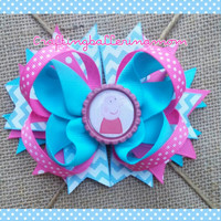 Peppa Pig Pink Aqua Hair Bow - Peppa Pig Headband - Chunky Bubblegum Necklace - Toddler Girl Bow Set - Peppa Costume - Chevron - Pig Tail