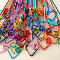 COLORFUL Handmade Head Pins - 20 Hearts with a Swirl - 22 gauge - 2 inches