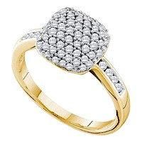 14kt Yellow Gold Women's Round Pave-set Diamond Square Cluster Ring 1/2 Cttw - FREE Shipping (US/CAN)