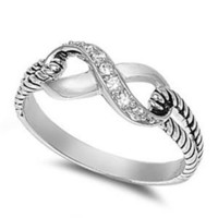 Sterling Silver Cubic Zirconia Infinity Knot Rope Ring
