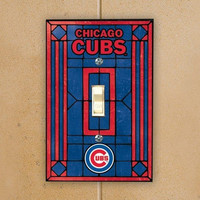 MLB Art Glass Switch Cover MLB Team: Chicago Cubs