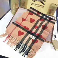 BURBERRY Popular Women Men Red Heart Cashmere Cape Tassel Scarf Scarves Shawl Accessories