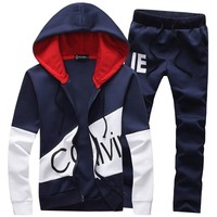 Hot Sale Large Size 5XL Men Outdoor Sports Sweater Pants Suit Hooded Tracksuit Basketball Football Camping Climbing Male Sets