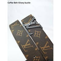 LV fashion printed gold and silver buckle belt hot seller for men and women's casual belts Coffee Belt+Silvery buckle