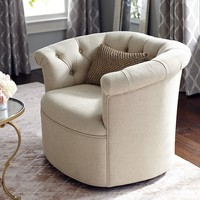Colette Swivel Chair - Chevron Flax