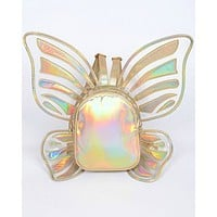 Float Like A Butterfly Gold Holographic Backpack