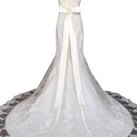 Sunvary New Square Neck Mermaid Bride Dresses Wedding Lace Long with Train
